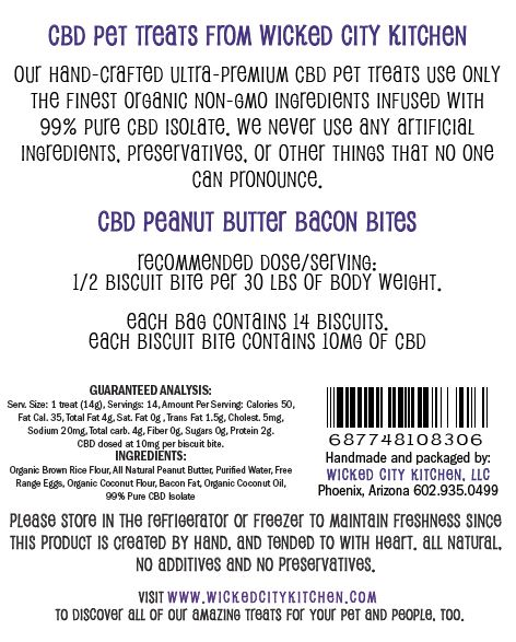 Peanut Butter Bacon CBD Pet Treat Label Back